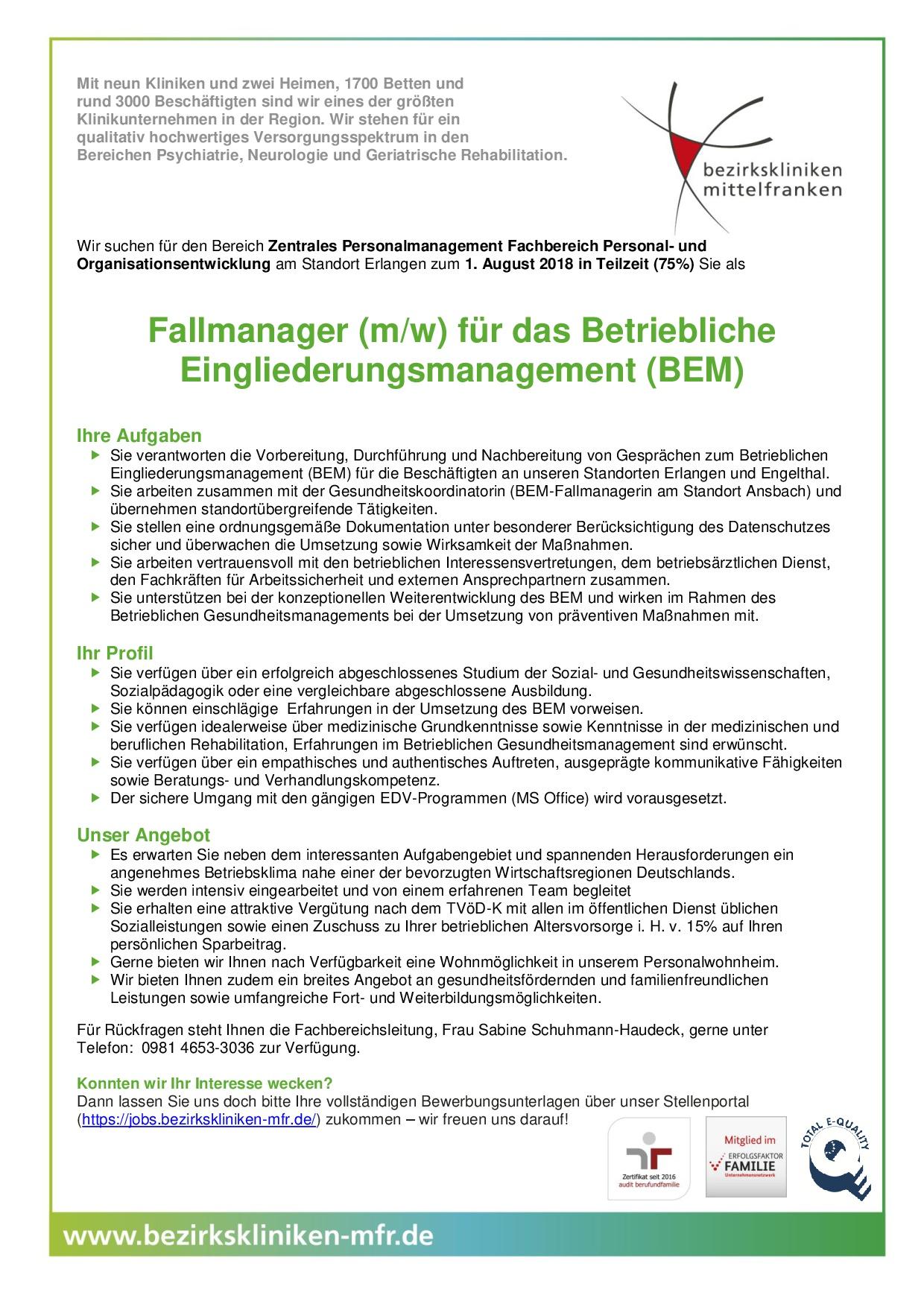 Stellenausschreibung Fallmanager Kliniken Mittelfranken